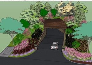 紫提湾车库入口廊架素材设计SU(草图大师)模型