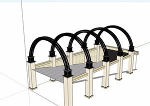 地下车库入口廊架素材SU(草图大师)模型