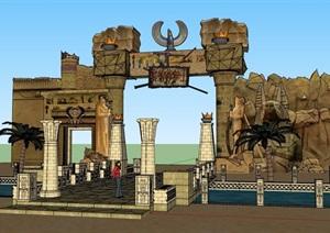 公园的景区门头大门素材设计SU(草图大师)模型