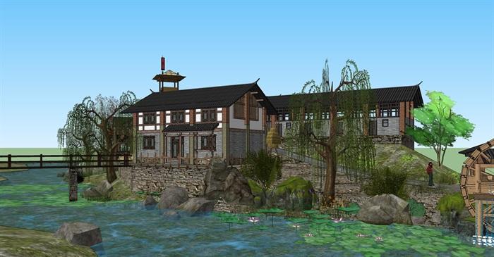 老厂区旧厂房民宿改造滨水商铺精品客栈建筑景观方案设计(1)