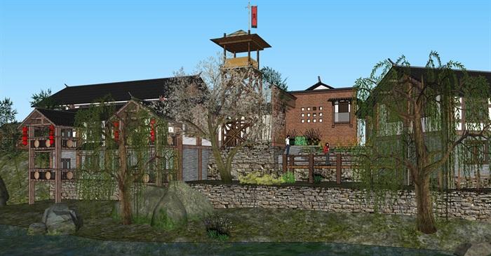 老厂区旧厂房民宿改造滨水商铺精品客栈建筑景观方案设计(2)