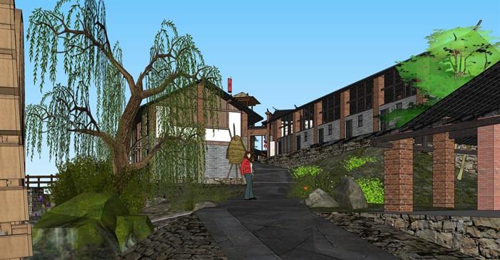 老厂区旧厂房民宿改造滨水商铺精品客栈建筑景观方案设计(5)