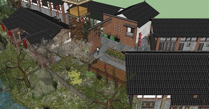 老厂区旧厂房民宿改造滨水商铺精品客栈建筑景观方案设计(6)