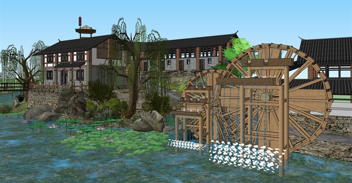 老厂区旧厂房民宿改造滨水商铺精品客栈建筑景观方案设计(10)