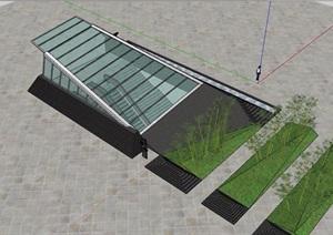 广场地下出入口玻璃廊架素材设计SU(草图大师)模型