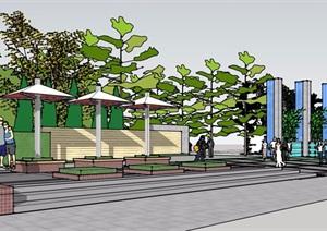 现代风格简单的公园入口大门SU(草图大师)模型