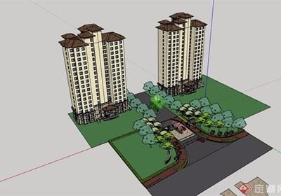 歐式風格詳細的住宅高層建筑樓及大門素材設計su模型