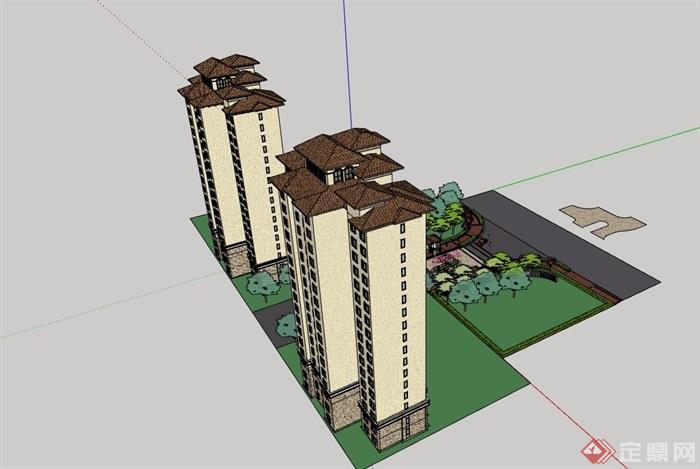 欧式风格详细的住宅高层建筑楼及大门素材设计su模型