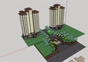 欧式风格详细的住宅高层建筑楼及大门素材设计SU(草图大师)模型