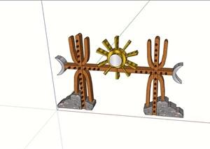 僰人大门节点素材设计SU(草图大师)模型