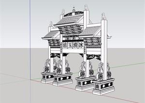 中式风格详细的牌坊门素材设计SU(草图大师)模型