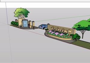 别墅入口岗亭大门和logo景墙设计素材设计SU(草图大师)模型