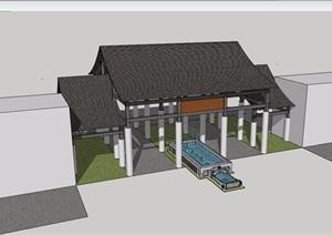 中式详细的整体完整大门素材设计SU(草图大师)模型