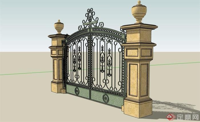 欧式详细的完整铁艺大门素材设计su模型