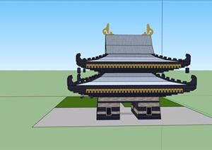 日式风格建筑大门素材设计SU(草图大师)模型