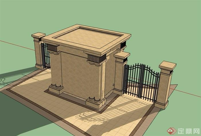 入口门房大门素材设计su模型,模型为欧式风格,模型细节处理得当详细完整,模型可直接下载用于相关园林景观节点素材设计使用,欢迎下载。