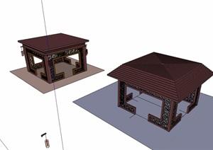 详细的两个休闲亭素材设计SU(草图大师)模型