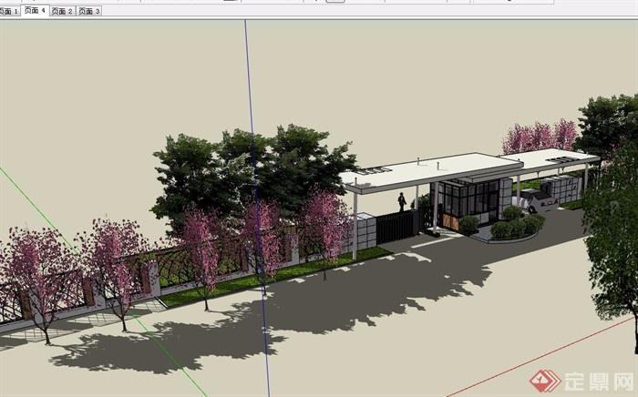 现代小区围墙大门素材设计su模型