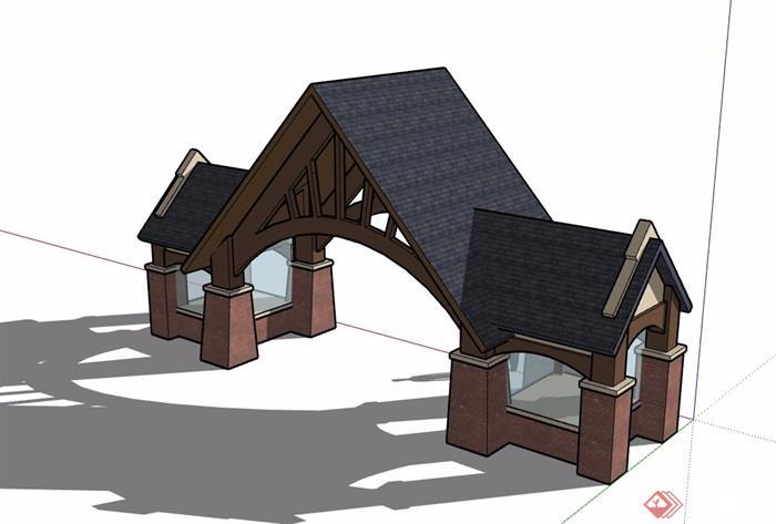 欧式园林景观小区大门素材设计su模型