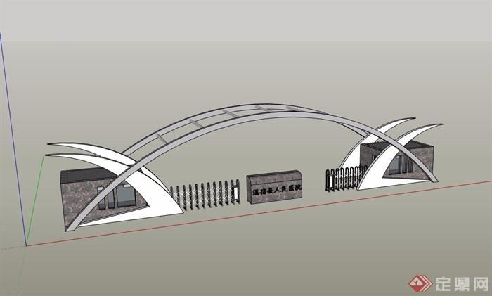 现代风格医院详细的完整大门素材设计su模型
