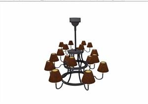 详细的完整欧式风格吊灯素材设计SU(草图大师)模型