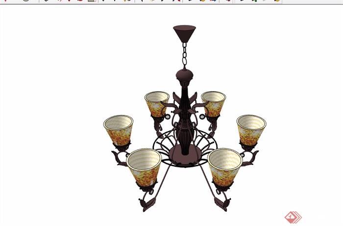 详细的完整的欧式风格室内吊灯su模型
