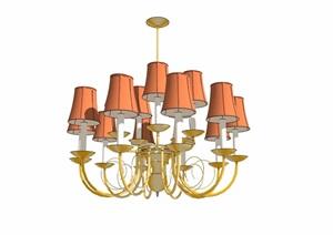 详细的完整室内客厅吊灯素材设计SU(草图大师)模型