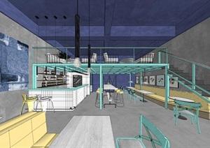 清新工业风LOFT酒吧咖啡厅室内设计