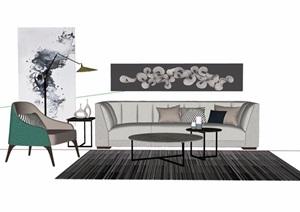 详细的完整沙发茶几素材设计SU(草图大师)模型