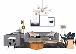 现代详细的简约室内沙发茶几、灯饰、椅子、装饰画素材设计SU(草图大师)模型