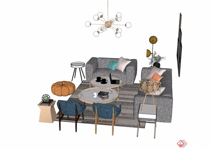 现代详细的简约室内椅子茶几、沙发、灯饰、装彩灯设计图手绘图片