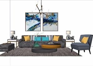 现代简约室内客厅家具素材设计SU(草图大师)模型
