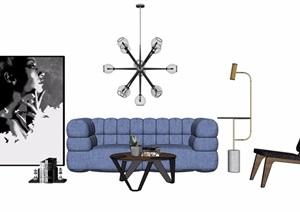某客厅详细完整的沙发茶几、灯饰、装饰画素材设计SU(草图大师)模型