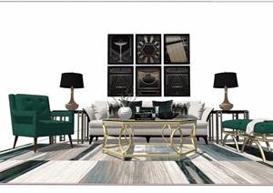 现代简约室内客厅家具组合素材设计SU(草图大师)模型
