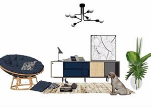 某现代风格简约椅柜灯饰组合设计SU(草图大师)模型