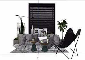 现代风格详细的沙发桌椅组合素材设计SU(草图大师)模型