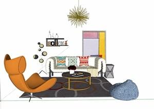详细的客厅详细室内沙发茶几、灯饰组合设计SU(草图大师)模型