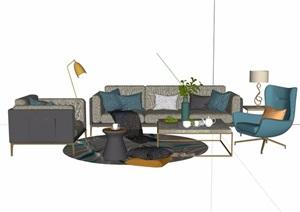 现代详细的完整室内客厅沙发茶几素材设计SU(草图大师)模型