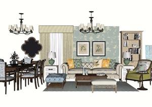 简欧风格详细的完整室内客厅沙发茶几、灯饰、桌椅SU(草图大师)模型