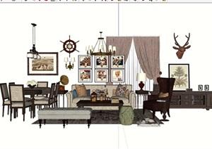 详细的欧式风格客厅沙发茶几家具组合SU(草图大师)模型