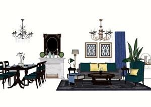 简欧风格详细的客厅沙发茶几、灯饰、餐桌椅组合设计SU(草图大师)模型
