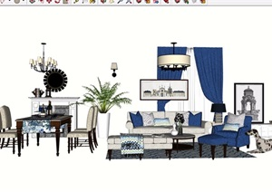 美式风格详细的沙发茶几、餐桌椅、灯饰素材设计SU(草图大师)模型