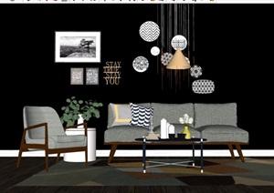 简约详细的完整室内客厅沙发茶几、灯饰素材设计SU(草图大师)模型