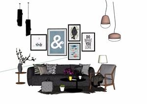 详细的整体完整室内沙发茶几SU(草图大师)模型