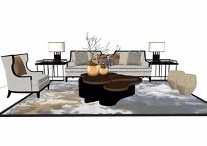 详细的简约室内素材茶几设计SU(草图大师)模型