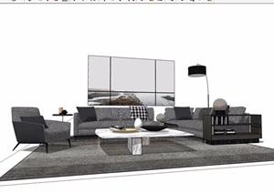 现代详细的整体室内沙发茶几SU(草图大师)模型
