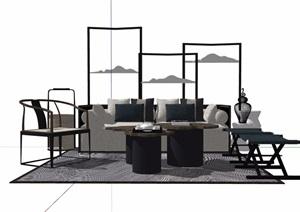 详细的整体完整简约室内沙发茶几SU(草图大师)模型