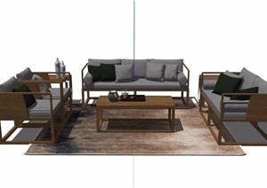 中式详细的沙发茶几组合设计SU(草图大师)模型