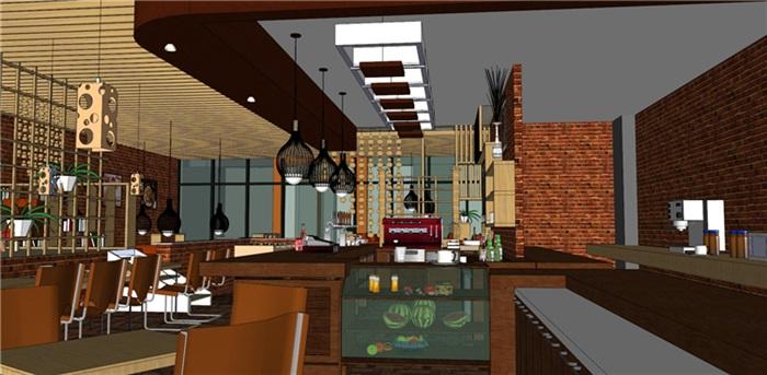 欧式风格红砖咖啡厅奶茶店(3)
