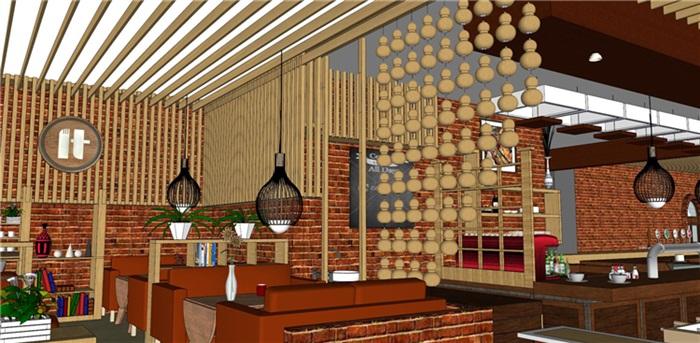 欧式风格红砖咖啡厅奶茶店(5)